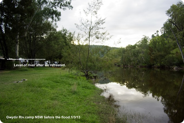 Gwydir River Campground - natural river level