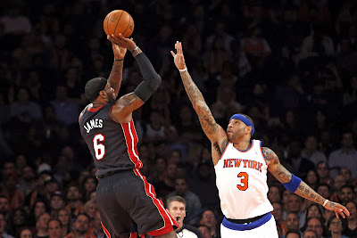 lebron james nba 140201 mia at nyk 03 LeBron Debuts Soldier 7 Shine PE as Heat Beat Knicks at MSG