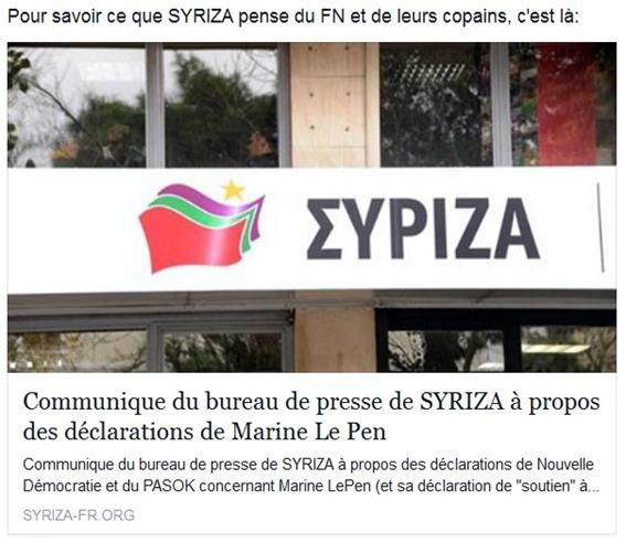 Comunicat de Syriza FN