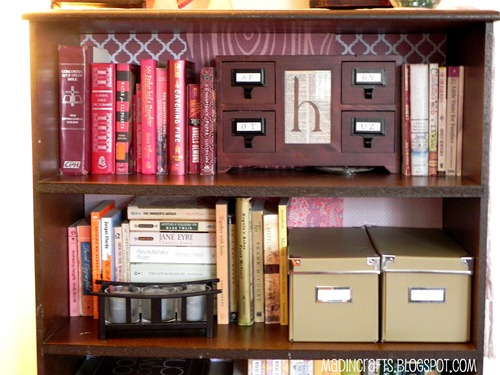 bookshelf with scrapbook paper