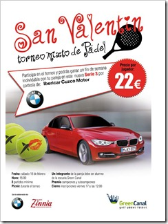 Torneo Mixto de Pádel San Valentín en Green Canal, sábado 18 febrero 2012.