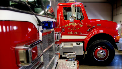 Fire trucks were parked inside the Fire Station Monday before being moved out to accommodate the 1500-1600 people the department expects to serve (Ben Stanton/KCII).