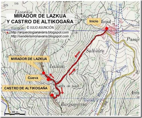 Mapa ruta mirador de Lazkua y Castro de Altikogaa