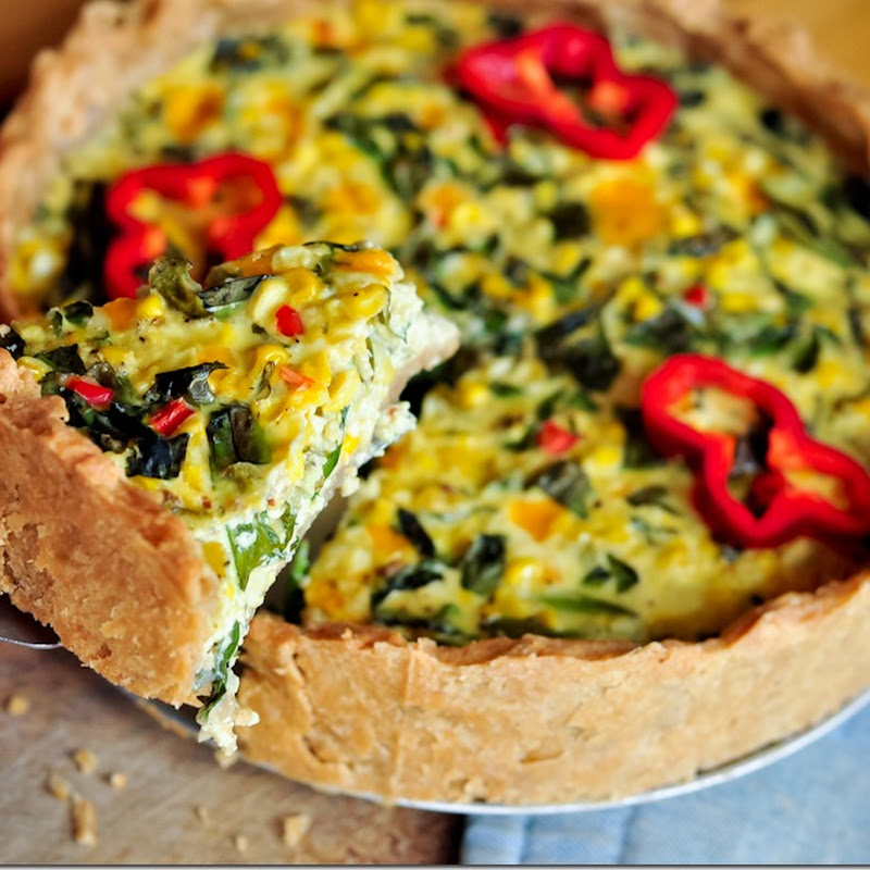 Corn and basil tart