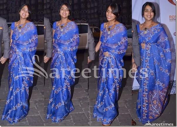 Priyanka_Alva_Blue_Saree