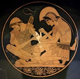 Aquiles cuida a Patroclo en el asedio de Troya, copia de una copa de Sosias, siglo V a.C.