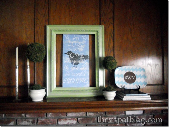 green, blue, mantel, artwork, bird, topiary, turquoise