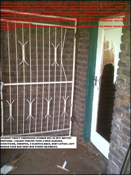 JOUBERT RIAAN FARM HOUSE ATTACK 3 BLACKS STOLE SOME WINE GLASSES DEC 22 2011
