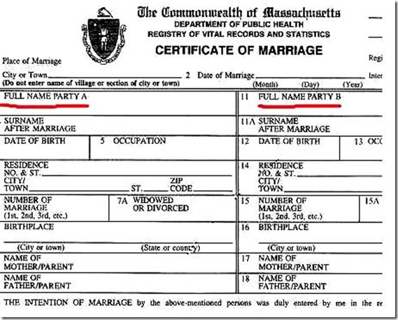 Official MA Marriage Cert