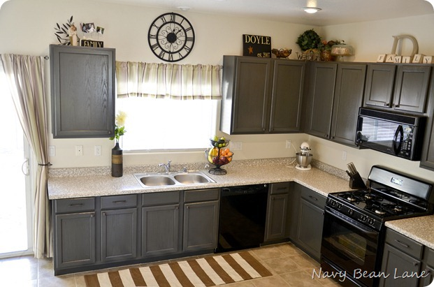 Navy Bean Lane Gray Kitchen Cabinets Before After