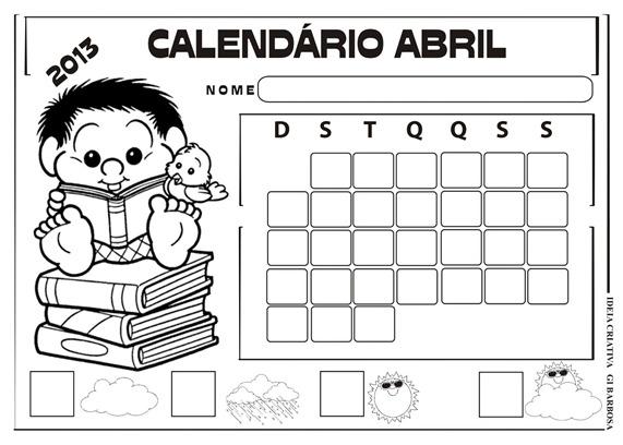 calendário-abril-2013-turma da mônica sem numeração
