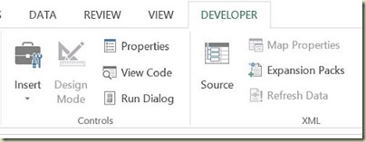 Form Controls in Excel - Developer Tab