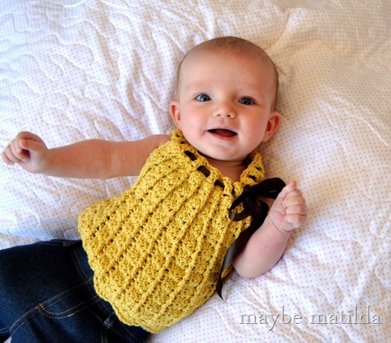 Sweetest little crochet baby sweater! www.maybematilda.com