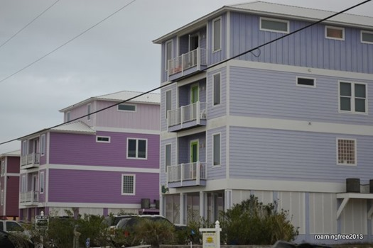 Brightly colored beach houses