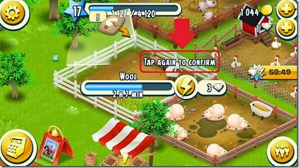 Hay Day diamond confirm button - double tap
