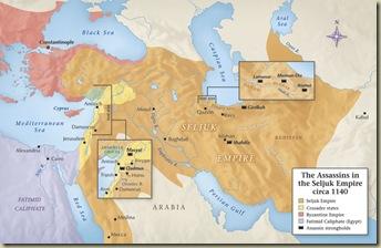 mapa de las fortalezas de los Asesinos en torno a 1140