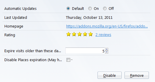 how to clear 2 days of history firefox