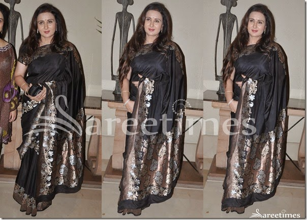 Poonam_Dhillon_Black_Silk_Saree