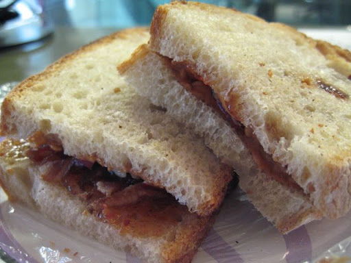 And the winner is....peanut butter, bacon, apple, and hot pepper jelly.