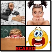 SCARED- 4 Pics 1 Word Answers 3 Letters