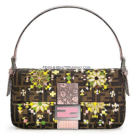FENDI BAGUETTE ZUCCA BAG Limited Re Editions flora sweet emboidered leather flowers pink double F clasp .by Silvia Venturini FENDI FALL WINTER 2012&#8216; flagship store opening Singapore