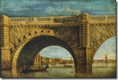 1750c Samuel Scott -An Arch of Old Westminster Bridge- oil on canvas 27 x 39.7 cm Tate, London