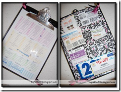 coupon clipboard organizer front and back