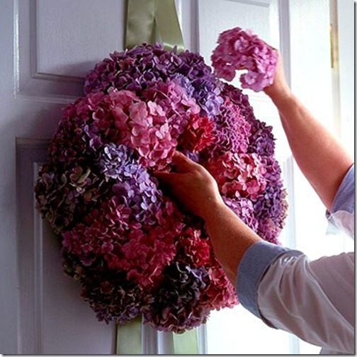 purple and pink dried hydrangea via bhg
