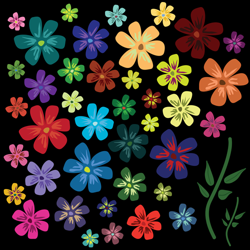 Vector - Flowers_black_BG by DragonArt