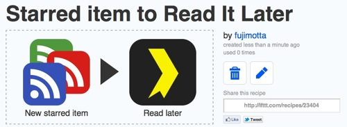 Ifttt  Starred item to Read It Later