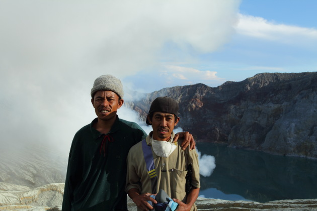 Alit and his fellow sulphur miner at Kawah Ijen, Indonesia