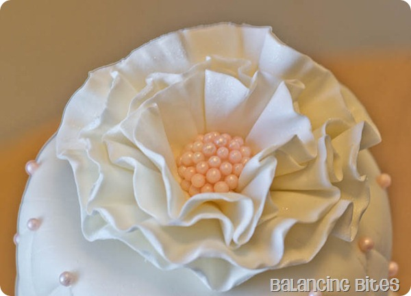 White Gum Paste Ruffled Flower with a Pink Sugar Pearl Center
