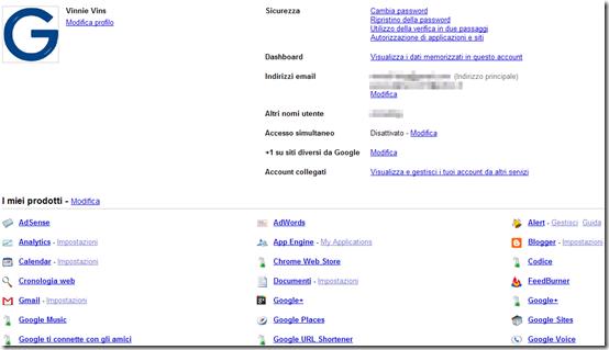 Precedente versione del profilo Google