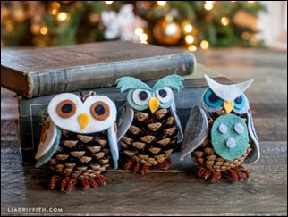Felt_Ornaments_Pinecone_Owls