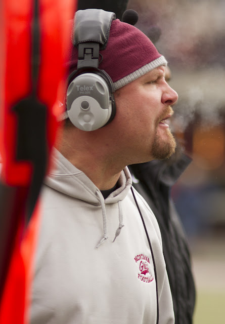 Montana Grizzlies' Defensive Coordinator Ty Gregorak stayed on top of his squad despite their consistent stops on third down.  The Griz D held Idaho State to only 24 hard-earned points in the face of Montana's 70 point blowout.  Washington-Grizzly Stadium in Missoula, Mont., October 27th, 2012.