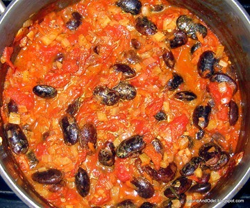 Red Scarlett Runner Beans in Tomato Fennel sauce