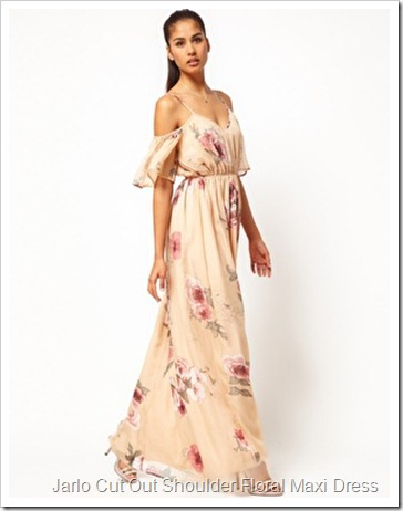 Jarlo Cut Out Shoulder Floral Maxi Dress with Belt