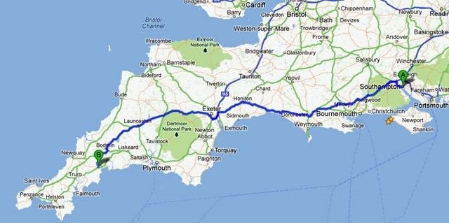 Southampton to St Austell