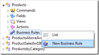 Creating a new business rule in a Code On Time web application
