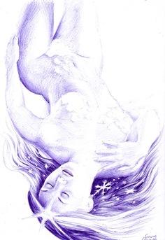 O fantezie de iarna - Desen in pix de iarna - O craiasa a zapezilor