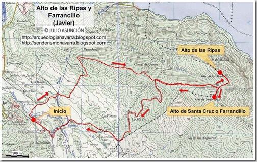 Mapa Alto de las Ripas y Farrandillo