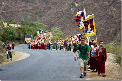 Marchers on the road