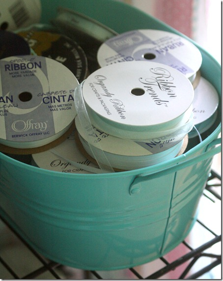 bucket of ribbon storage idea