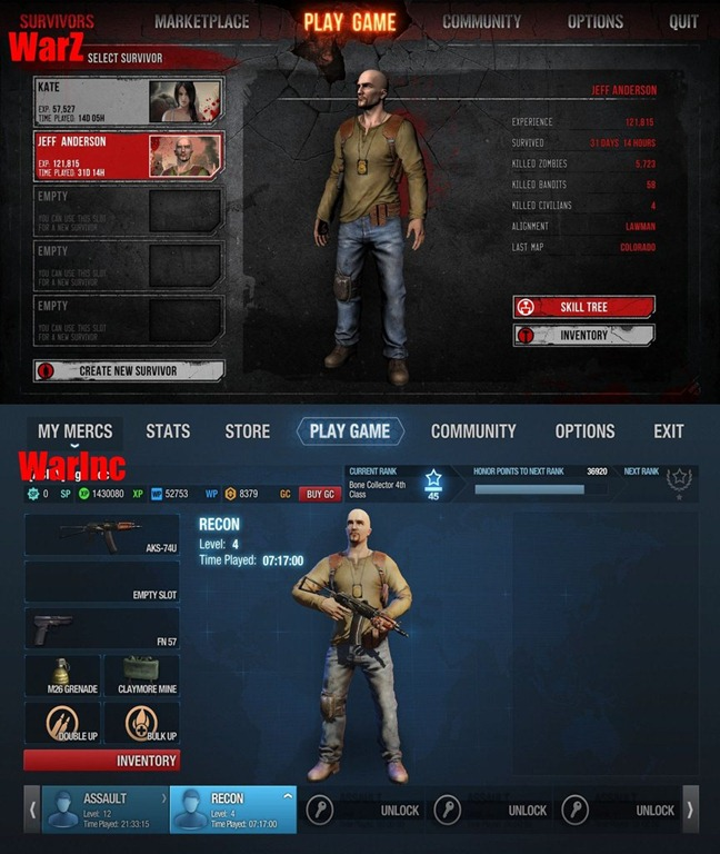 comparaison du menu warz/war inc