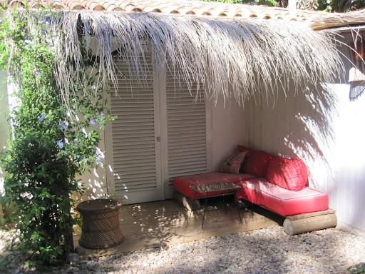 Our garden bungalow at the hostel in Punta del Este.