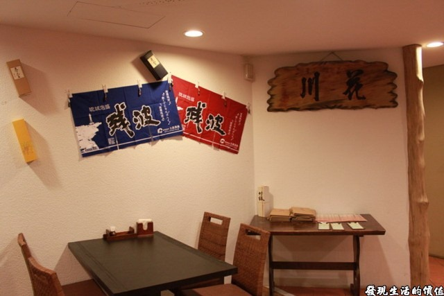 台南-花川日本料理。一上餐廳二樓時的景象。
