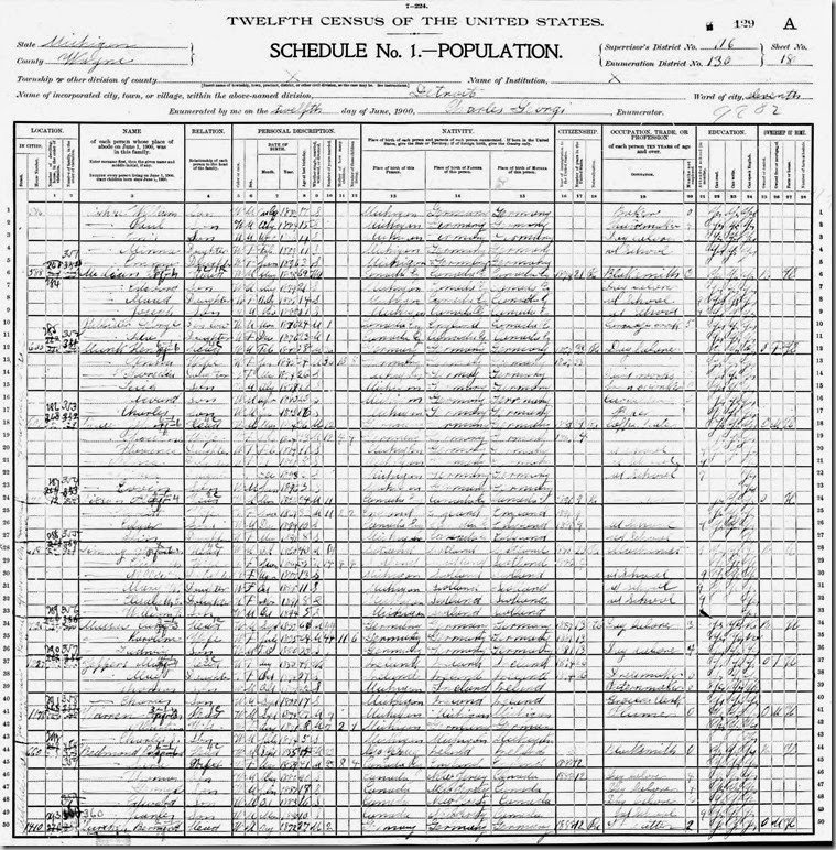 1900 census with Lindsay_Wm