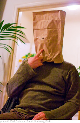 'Some idiot with a bag on his head' photo (c) 2009, Colin and Sarah Northway - license: http://creativecommons.org/licenses/by-sa/2.0/