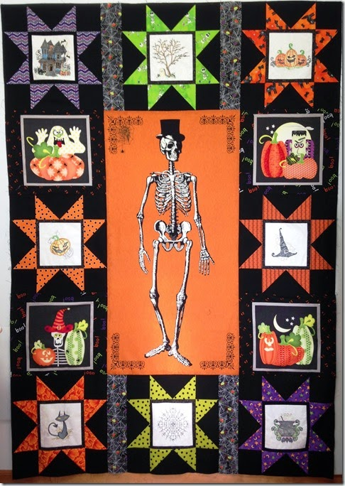 skeleton quilt with Jessy