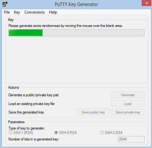 Machine generated alternative text: PuTTY Key Generator File Key Conversions Help Please generate some randomness by moving the mouse over the blank area Generate a public/private key pair laad an existing private key file Save the generated key Parameters Type of key to generate SSH-I (RSA) Number of bits In a generated key Save public key Generate Load Save private key SSH-2 RSA C) SSH-2 OSA